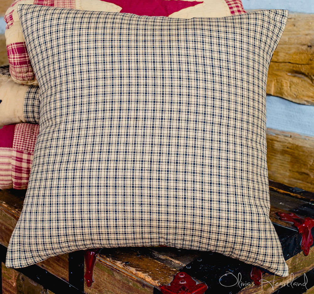 Black & Tan Plaid 16 inch Pillow Cover, by Olivia's Heartland