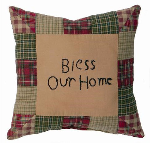 Tea Cabin Bless Our Home Pillow, by Victorian Heart