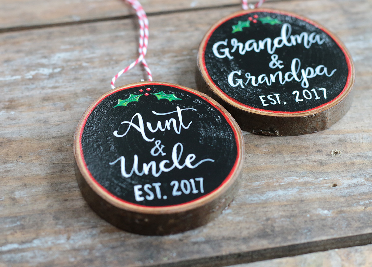 Aunt & Uncle Wood Slice Ornament