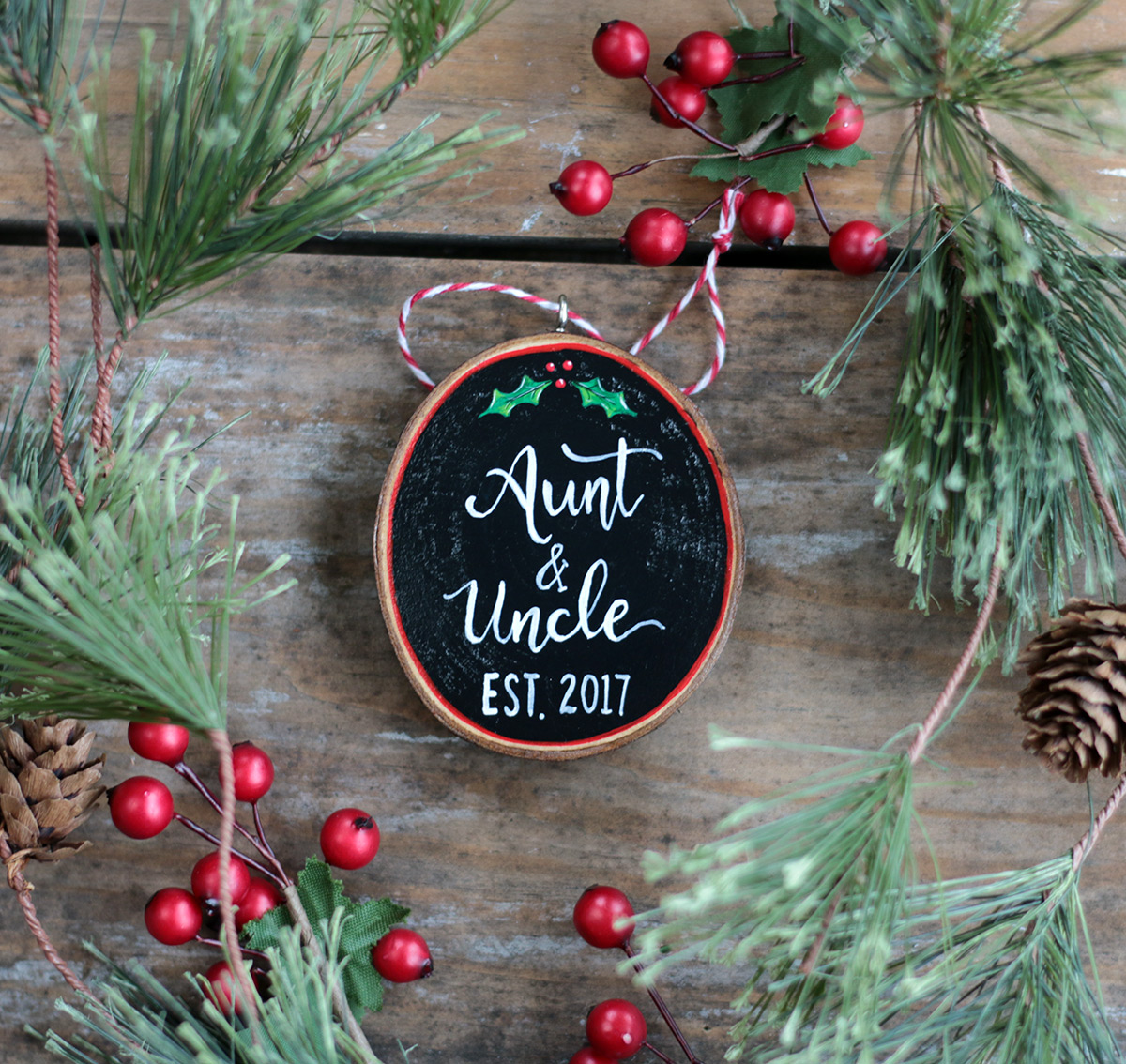 Aunt & Uncle Wood Slice Ornament - The Weed Patch