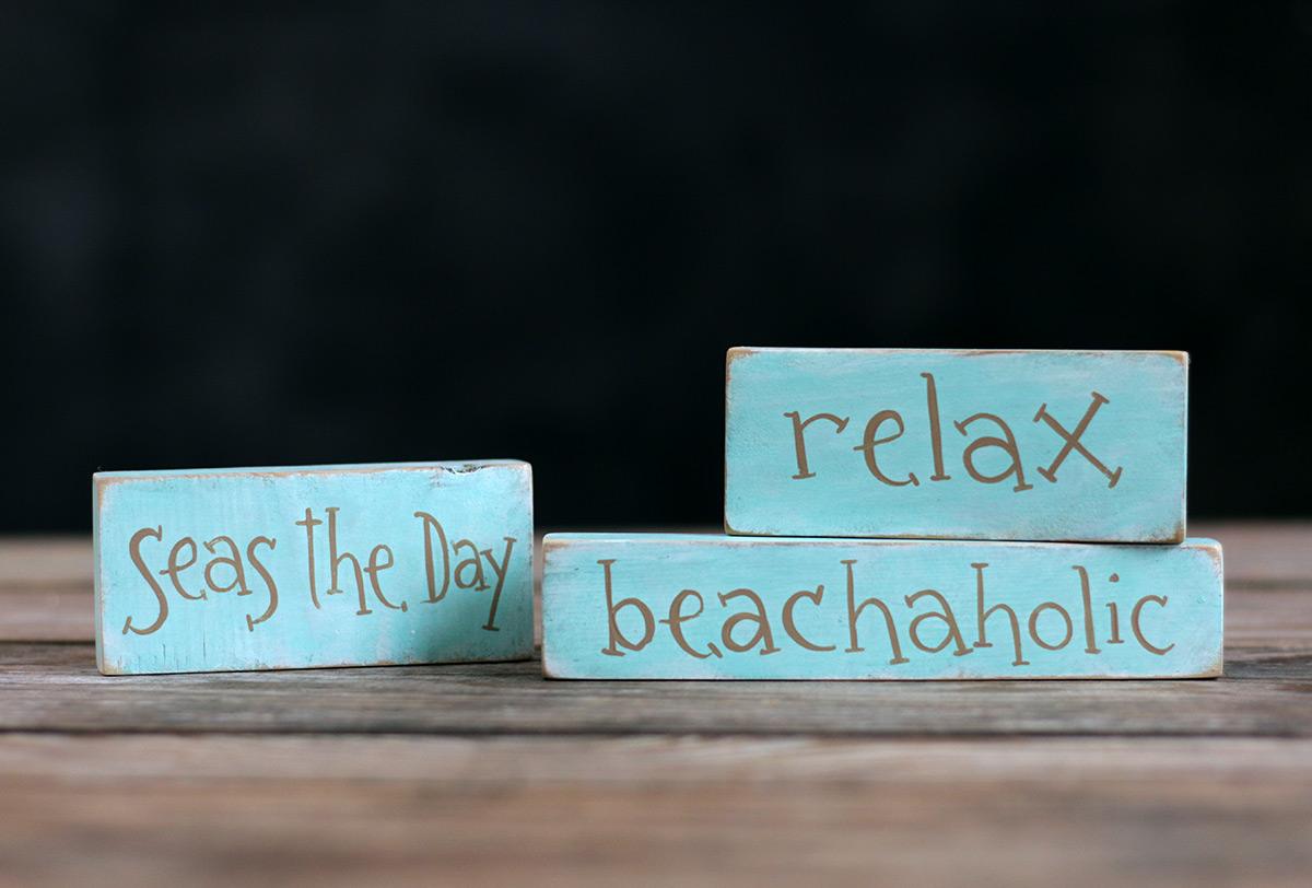 Coastal Themed shelf sitter signs