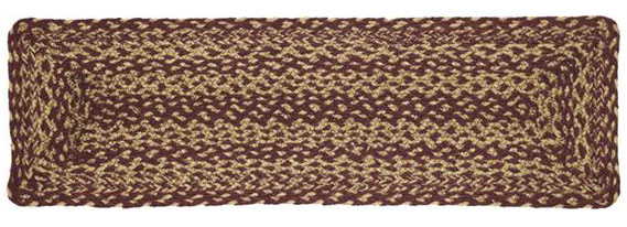 Burgundy and Tan Jute Rectangle Stair Tread, by VHC Brands