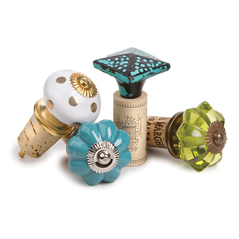 Use our knobs with corks to make unique bottle stoppers!