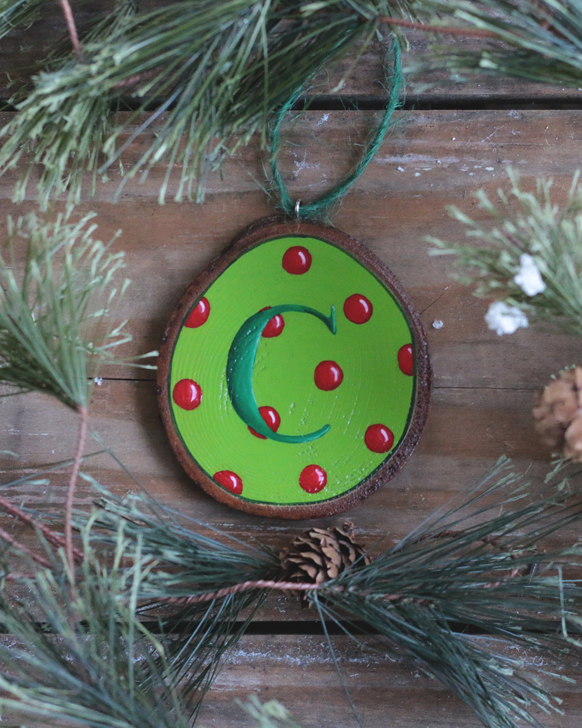 Green Polka Dot Initial Wood Slice Ornament The Weed Patch