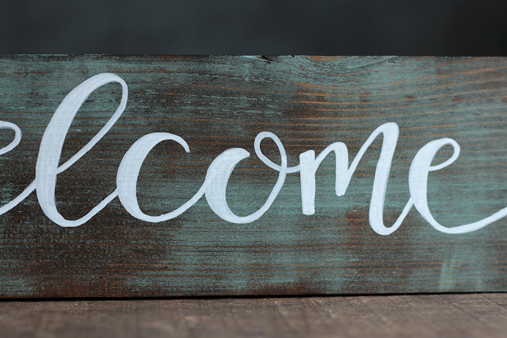 Welcome Hand Lettered Wood Sign, hand painted in Mill ...