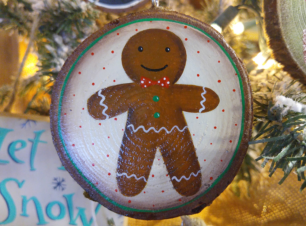 Gingerbread Man Wood Slice Ornament The Weed Patch