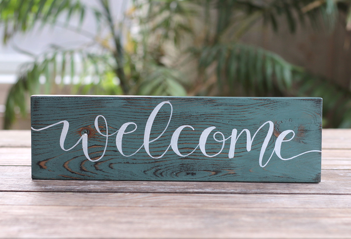 Welcome Hand Lettered Wood Sign Hand Painted In Mill Creek Wa The Weed Patch