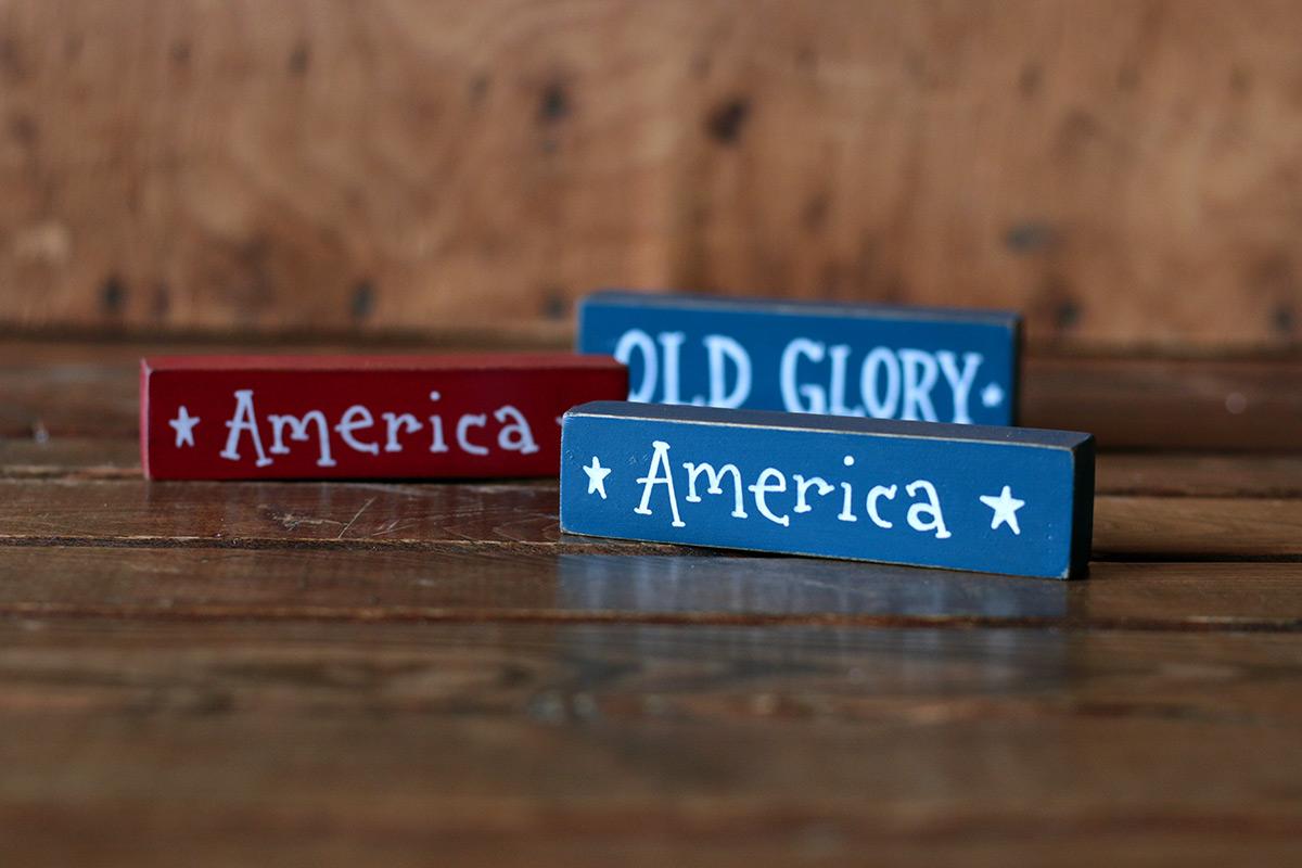 Patriotic Mini Stick Shelf Sitter, hand painted in Washington State