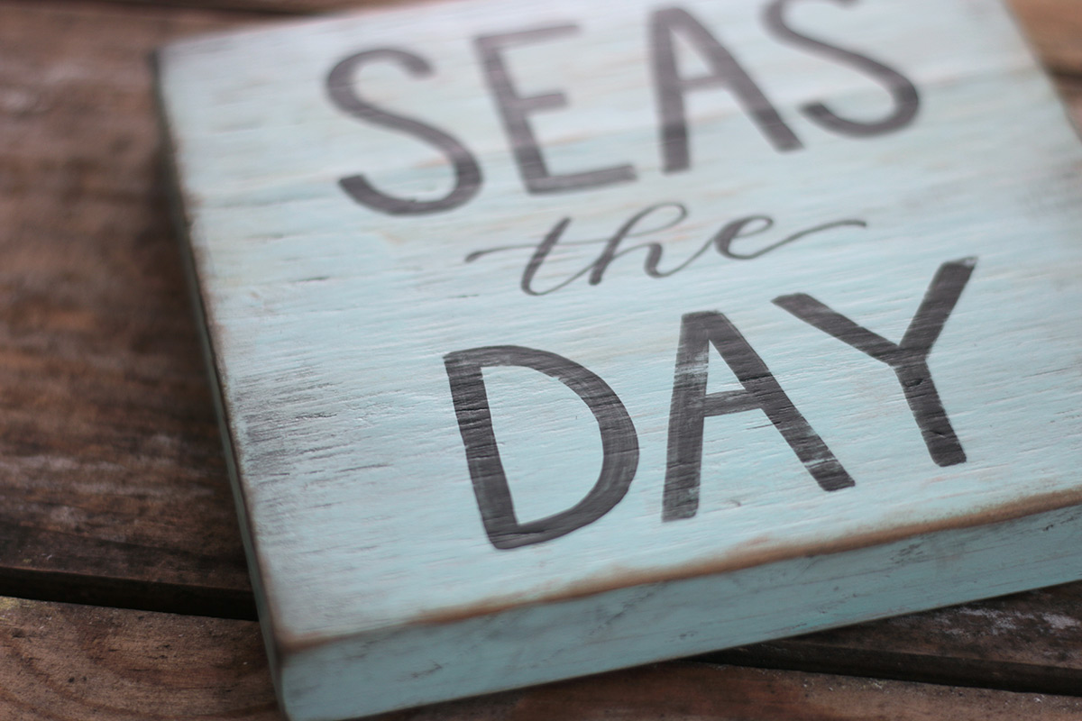 Seas the Day Reclaimed Wood Sign, by Our Backyard Studio in Mill ...