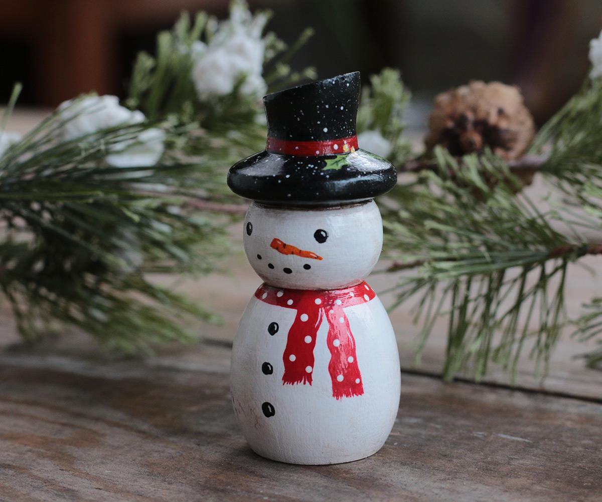 New Primitive Folk Art Christmas Rustic Black Snowman