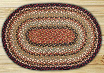 Burgundy / Mustard Oval Jute Rug - 27 x 45 inch