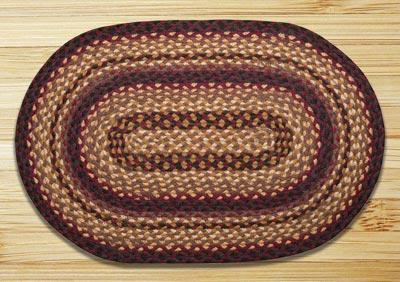 Black Cherry, Chocolate, and Cream Braided Jute Rug, Oval - 20 x 30 inch