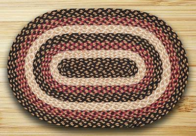 Burgundy, Black, & Dijon Braided Rug, Oval - 20 x 30 inch