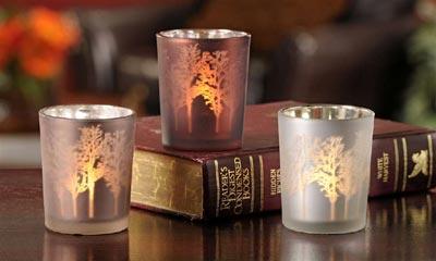 Forest Silvered Glass Votive