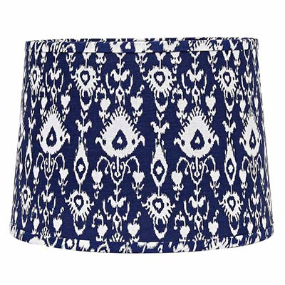 Ikat tapered tapered drum lamp shade 16 inch cobalt blue white