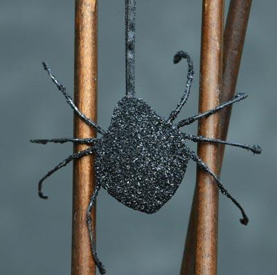 Glittered Spider Ornament - Black