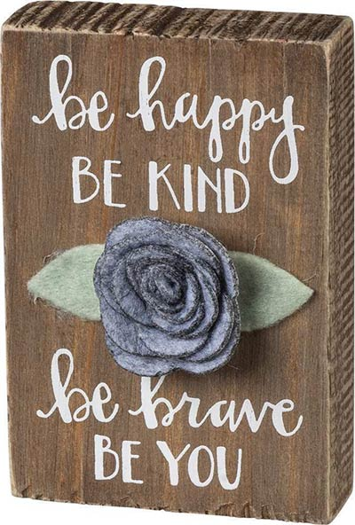 Be Happy Box Sign with Felt Flower