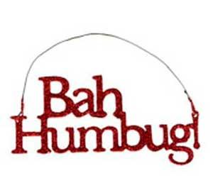 Bah Humbug Glitter Ornament - Red