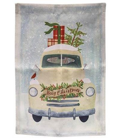 Christmas White Truck Garden Flag