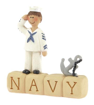 Navy Block with Boy