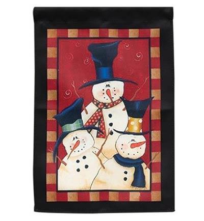 Snowman Trio Garden Flag
