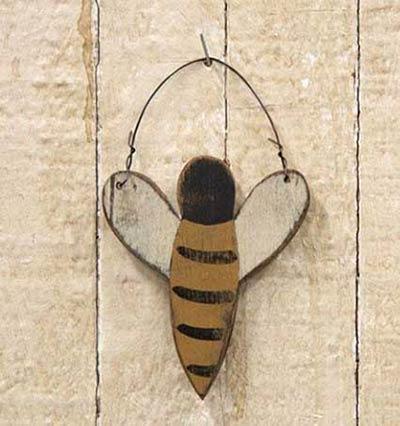 Rustic Wood Bee Ornament