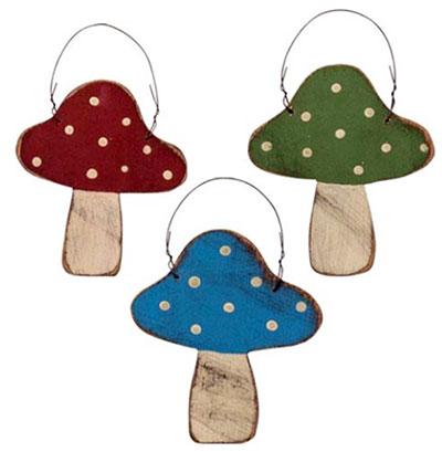 Rustic Wood Mushroom Ornament