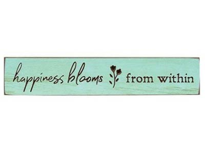 Happiness Blooms 18 inch Wood Sign