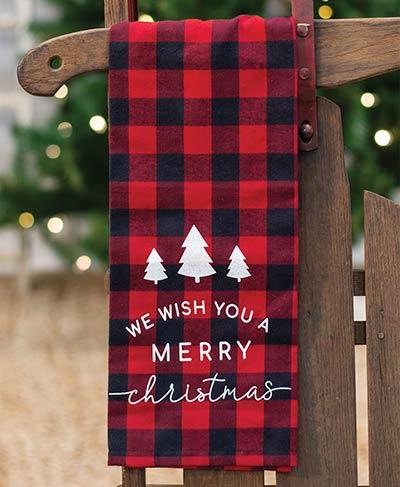 Merry Christmas Buffalo Check Dishtowel