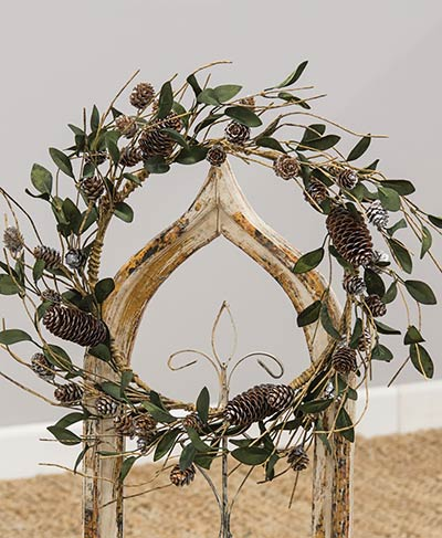 Silver Frosted Leaf & Pine Cone Wreath
