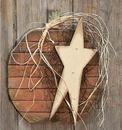Lath Pumpkin Wall Hanger with Star