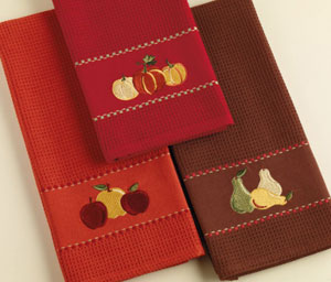 Pears Embroidered Dishtowel
