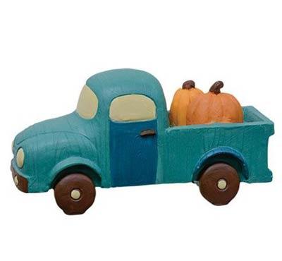 Blue Retro Truck with Pumpkins