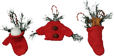 Mini Red Knit Ornaments (Set of 3)