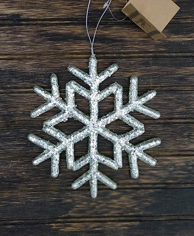 Silver Glitter Snowflake Ornament Medium The Weed Patch