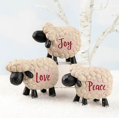 Peace, Love, Joy Sheep (Set of 3)