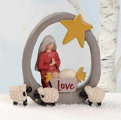 Mary and Jesus with Sheep