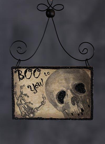Boo Halloween Postcard Picture Ornament