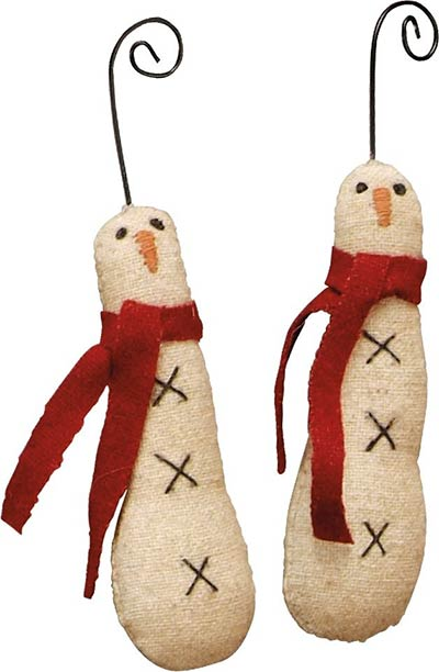 Skinny Primitive Snowman Ornaments (Set of 2)