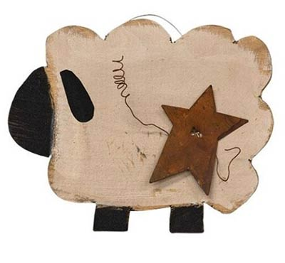 Primitive Sheep with Star Wall Decor