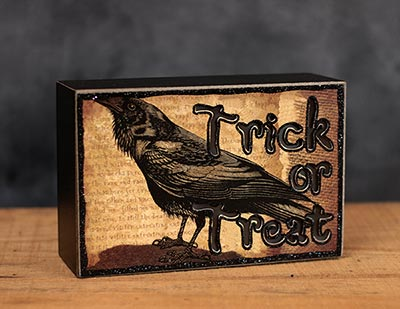 Trick or Treat Crow Light-up Box