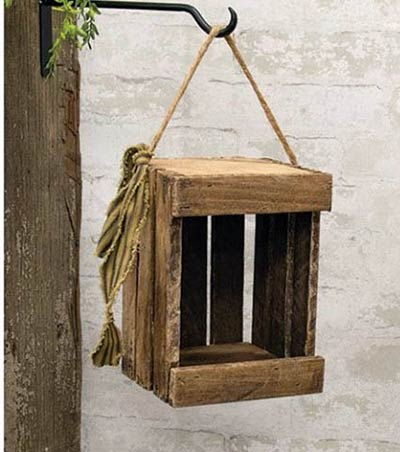 Lath Wood Crate with Hanger - 9 inch