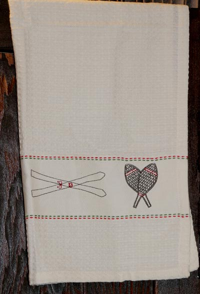 Chalet Embroidered Waffle Weave Dishtowel