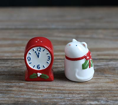 Mouse & Clock Salt and Pepper Shaker Set
