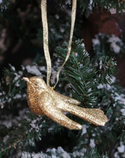 Glittered Bird Ornament - Gold