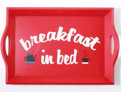 Red Breakfast Tray