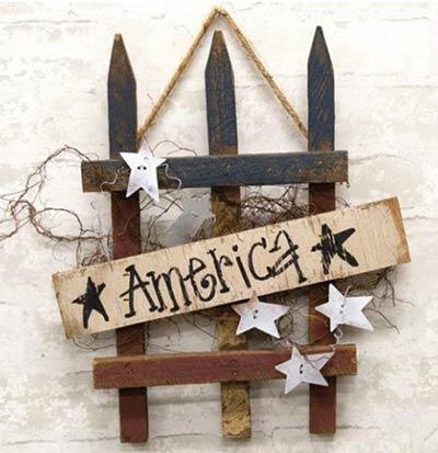 America Patriotic Picket Fence Sign