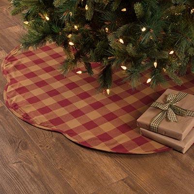 Burgundy Check Christmas Tree Skirt - 55 inch