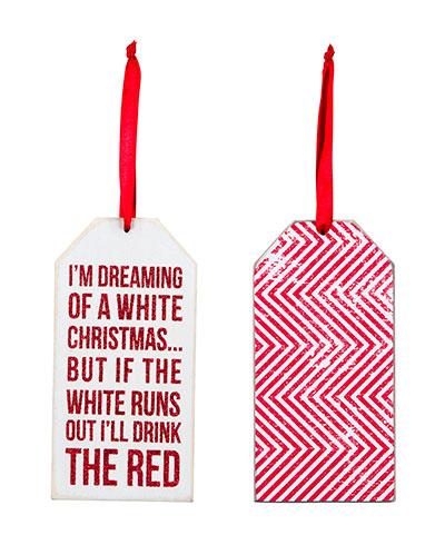 White Christmas Wine Bottle Tag / Ornament