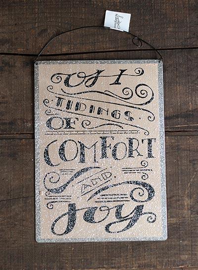 Comfort and Joy Tin Sign
